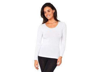 Boody T-shirt Dame Langærmet Hvid Rund Hals - Flere Størrelser