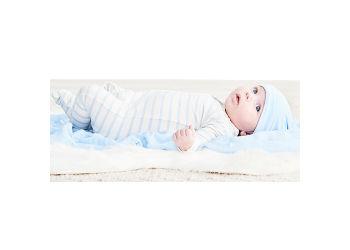 Boody Baby Sparkedragt Stribet Hvid/blå 3-6 Mdr