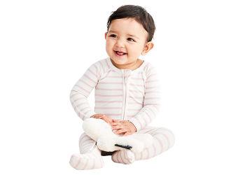 Boody Baby Sparkedragt Stribet  Hvid/rose 0-3 Mdr