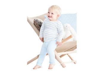 Boody Baby T-shirt Langærmet Stribet Hvid/blå 6-12 Mdr