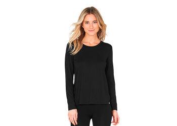 Boody T-shirt Dame langærmet sort str. M rund hals