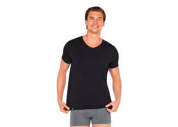 Boody T-shirt Herrer V-hals sort str. S
