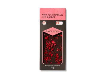 Økoladen Chokolade mørk hindbær 72% Ø