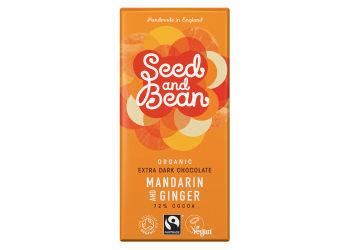 Seed And Bean Mörk Choklad 72% Mandarin & Ingefära Eko
