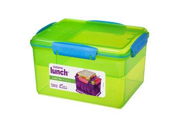 Sistema Madkasse Stor Lunch Tub 2,3 L  4 Rum, Lime, Blå, Pink Og Lilla