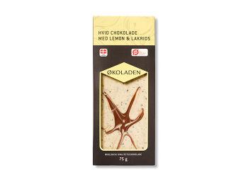 Økoladen Chokolade hvid lemon/lakrids Ø