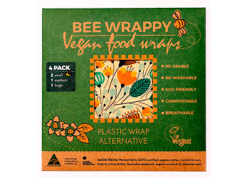 Bee Wrappy Vegan Food Wraps - 4 Pak