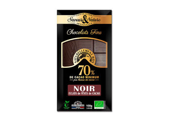 Saveurs & Nature Chokolade 70% Kakaonibs Ø Mørk