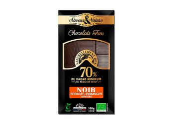 Saveurs & Nature Chokolade 70% Mørk M. Appelsinskal Ø Kandiseret