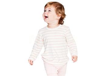 Boody Baby T-shirt Langærmet Stribet Hvid/rose 6-12 Mdr