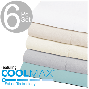 Chill Luxe 6 Piece Sheet Set With COOLMAXR Fabric Technology