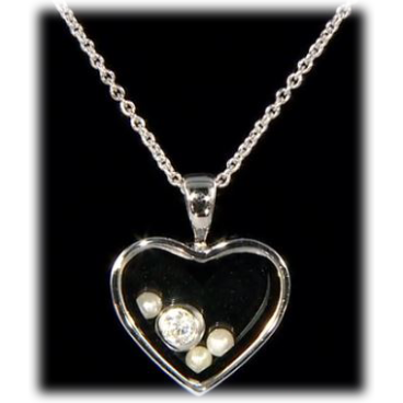 Sterling silver floating heart pendant with lucite pearls sterling silver floating heart pendant with lucite pearls swarovski crystals mozeypictures Image collections