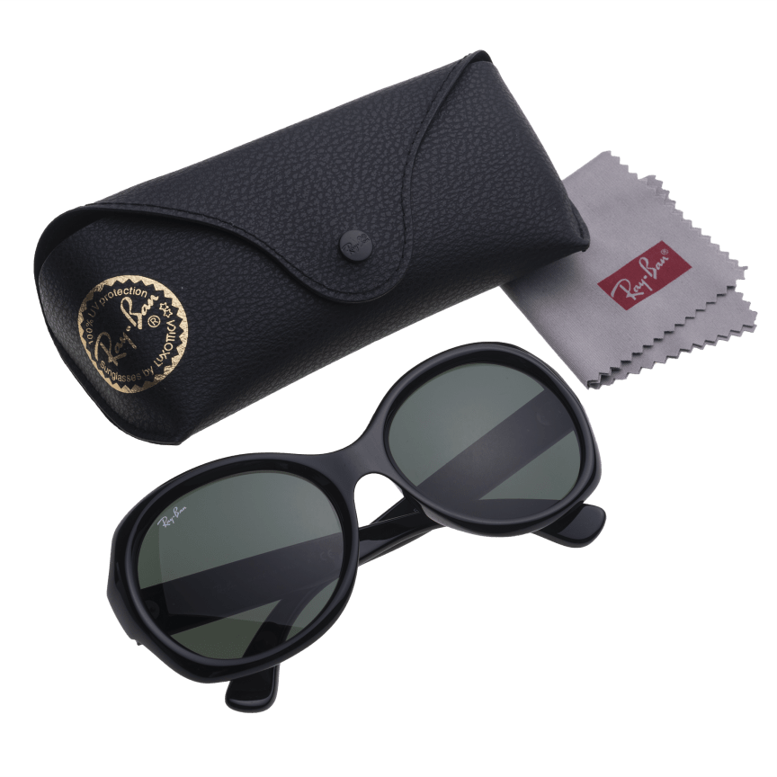 8ee66ec08a409 Ray-Ban RB4191 Sunglasses with Black Frame   Green Classic Lenses