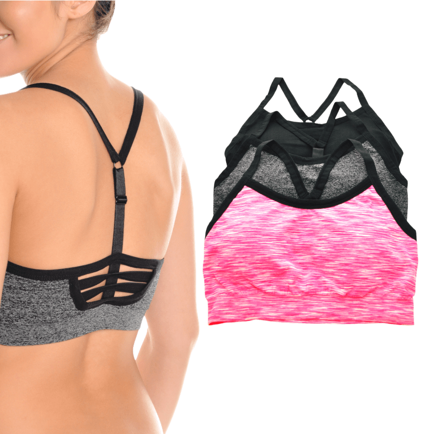 396e6f4181f55 3-Pack  Angelina Seamless Adjustable Y Strappy Back Sports Bras