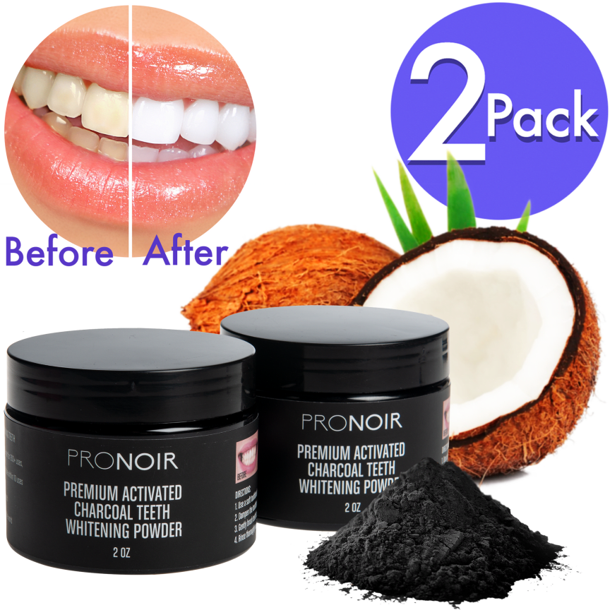 2-Pack: ProNoir Coconut Activated Charcoal Teeth Whitening Powder
