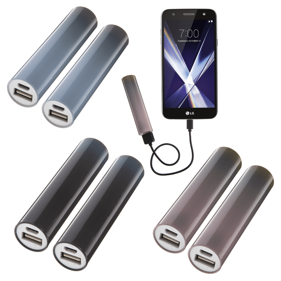 2 Pack Bits Made 2000mah Ombre Cylinder Power Banks