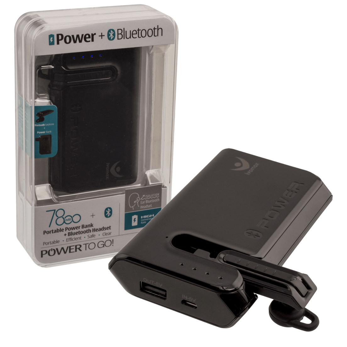 Ivomax 2 In 1 7800mah Power Bank With Integrated Bluetooth Headset