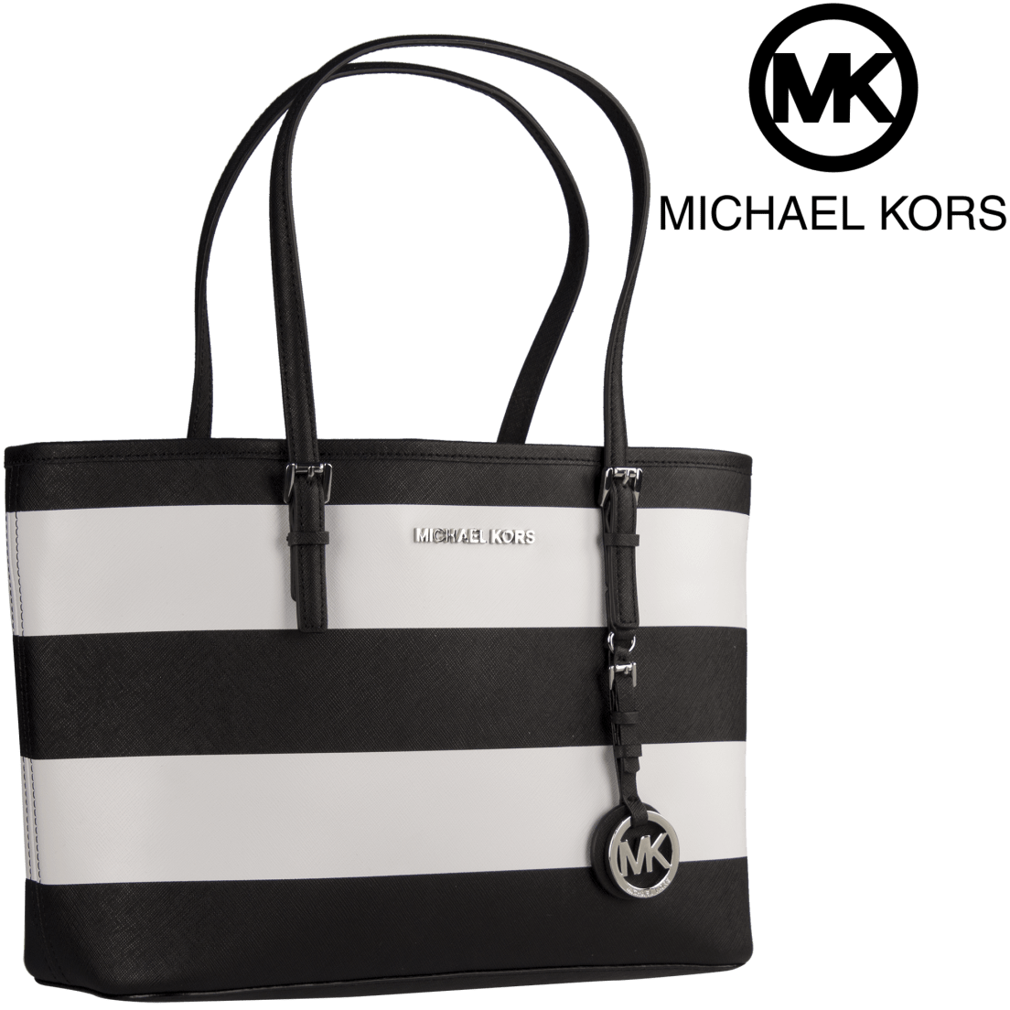 49579e0a7134 Michael Kors Jet Set Travel Small Saffiano Leather Top-Zip Tote in Black    White