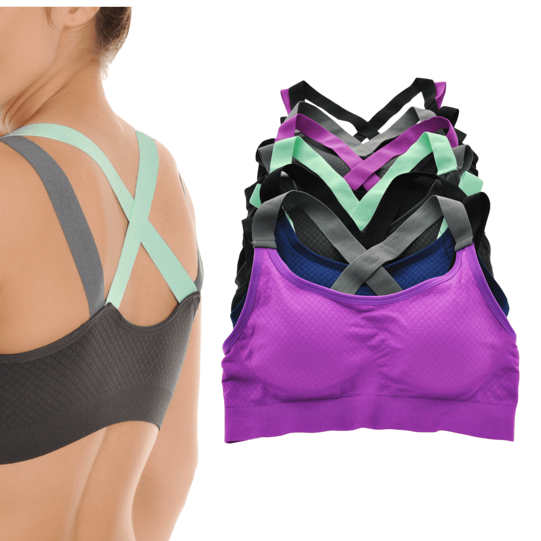 d8a229f96167e 6-Pack  Angelina Seamless Sports Bras
