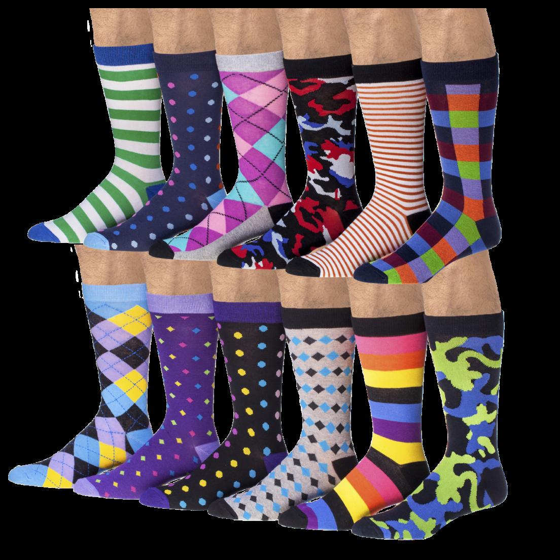 6 pack men s colorful funky patterned cotton dress socks