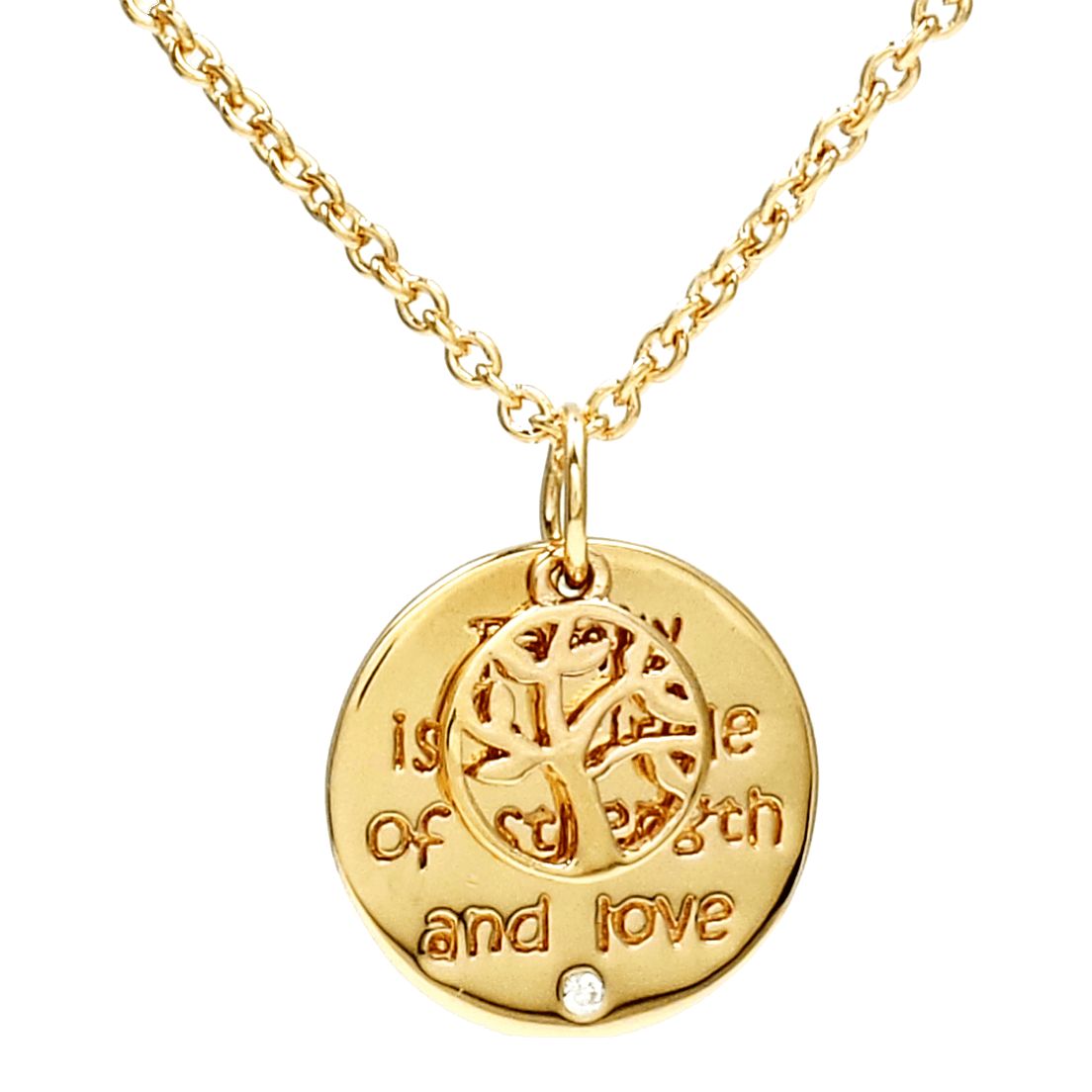Savvy Cie 14k Gold Family Is A Circle Of Strength And Love Necklace