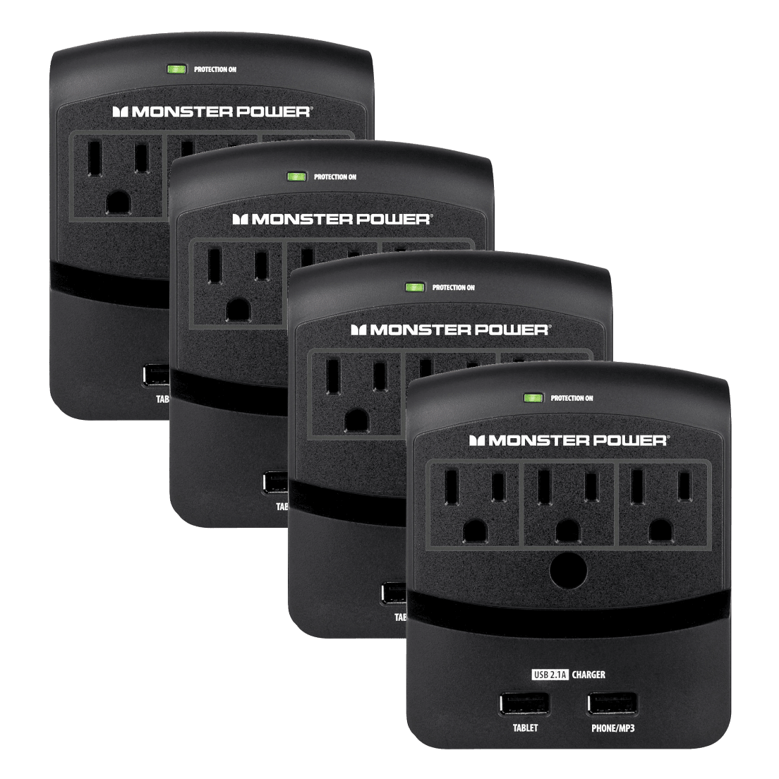 4 Pack Monster Core Power 350 Triple Wall Outlet With 21a Usb