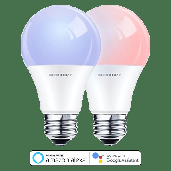 2-Pack: Merkury Color LED WiFi Bulbs