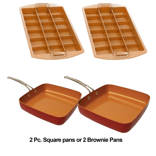 2-Pack: Red Copper Square Pans or Brownie Bonanza Pans
