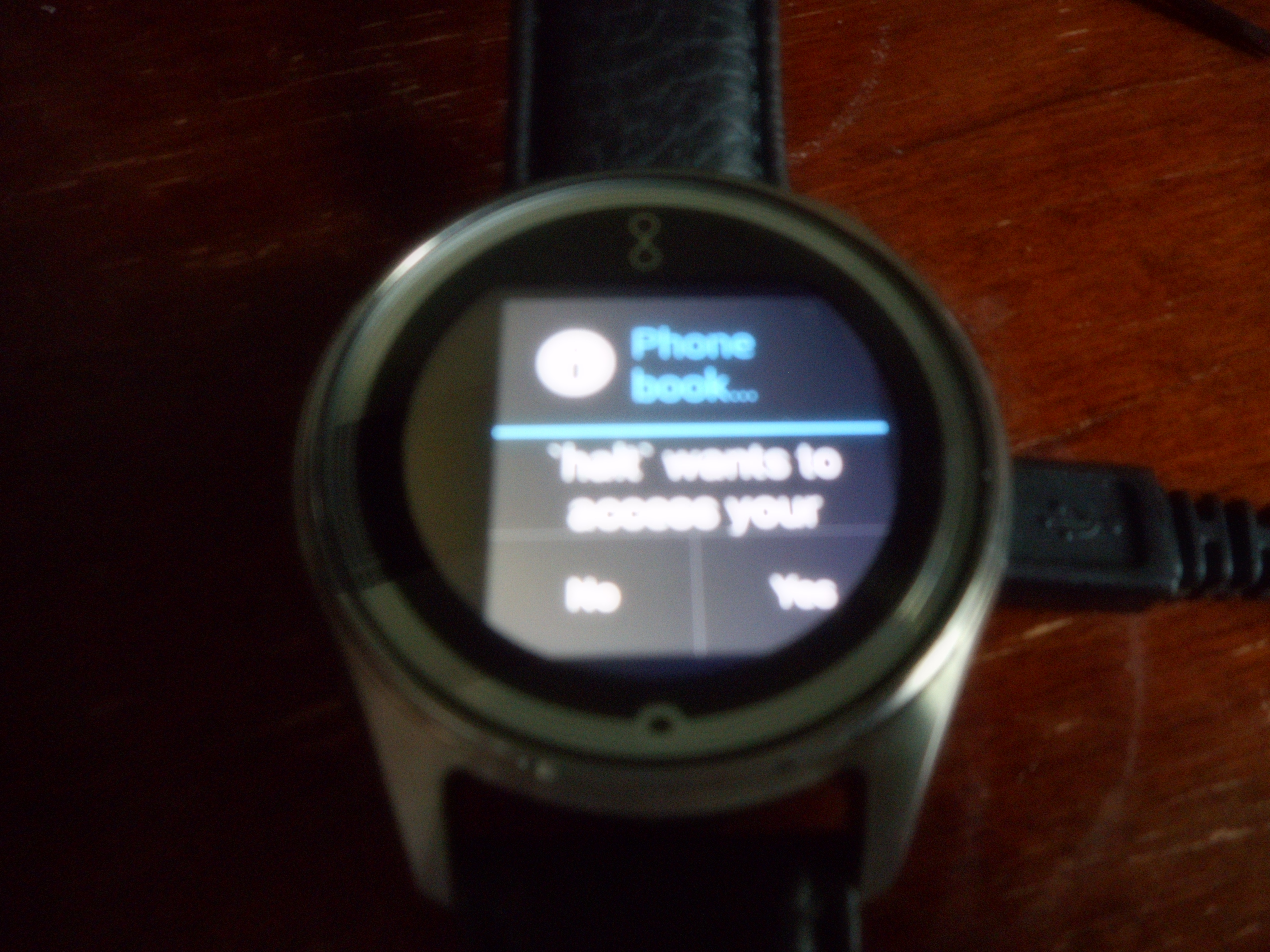 Olio Model One Smartwatch The Pebble Smart Watch Will Include A Flexible Circuit Board Captainbilly Slightly Better Image Asking If I Want To Grant Permission My Phone Book