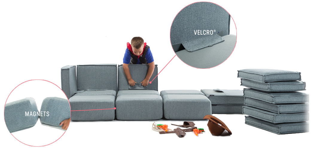 Kid Sactionals Connect Together And Come Apart With Magnets And Velcro. Now  The Kids Can Build Forts With Their Own Furniture, Not Yours.
