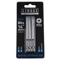 """Набор бит с цветным кольцом 90мм, 1/4"""", PZ2 (3 шт.) STROXX"""