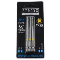 """Набор бит с цветным кольцом 90мм, 1/4"""", TX15 (3 шт.) STROXX"""