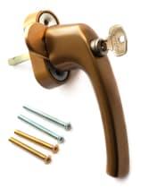 Ручка оконная с ключом и кнопкой Hoppe FLENSBURG Secustik, штифт 32-42 мм. бронза