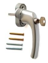 Ручка оконная с ключом и кнопкой Hoppe FLENSBURG Secustik, штифт 32-42мм. сталь