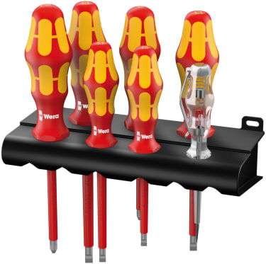 Набор отверток WERA 160 i/165 i/7 Rack Kraftform Plus Серия 100 + индикатор наличия напряжения + стойка, 7 предметов