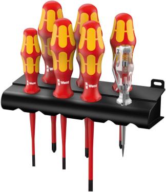 Набор отверток WERA 160 iS/7 Rack Kraftform Plus Серия 100 + индикатор наличия напряжения + подставка, 7 предметов