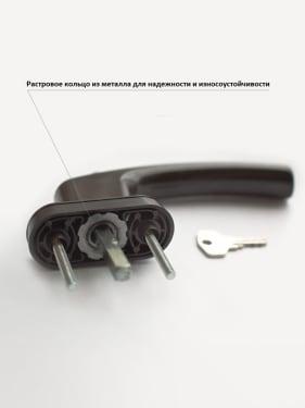 Ручка оконная с винтами BLAUGELB штифт 43мм (коричневая) с ключом - photo 3
