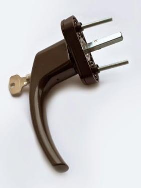 Ручка оконная с винтами BLAUGELB штифт 43мм (коричневая) с ключом - photo 6