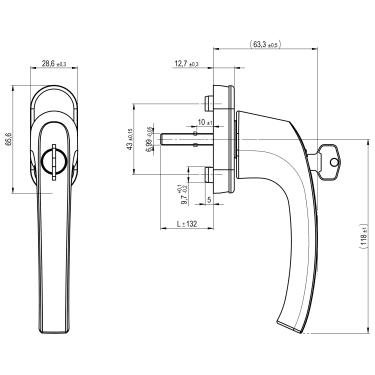 Ручка оконная с ключом и кнопкой Hoppe FLENSBURG Secustik, штифт 32-42 мм. бронза - photo 3