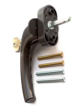 Ручка оконная с ключом и кнопкой Hoppe FLENSBURG Secustik, штифт 32-42мм. коричневая - photo 2