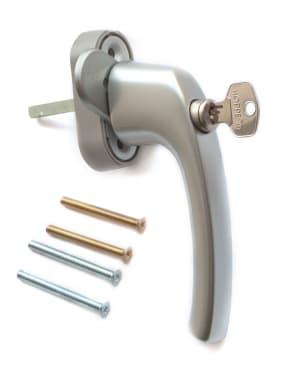 Ручка оконная с ключом и кнопкой Hoppe FLENSBURG Secustik, штифт 32-42мм. серебристая