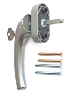 Ручка оконная с ключом и кнопкой Hoppe FLENSBURG Secustik, штифт 32-42мм. серебристая - photo 2