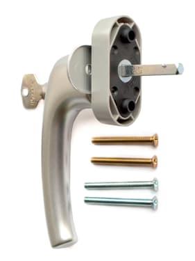 Ручка оконная с ключом и кнопкой Hoppe FLENSBURG Secustik, штифт 32-42мм. сталь - photo 2