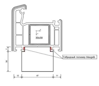 Тёплый подставочный профиль  BLAUGELB 30/37X47X1175 мм (VEKA) - photo 2