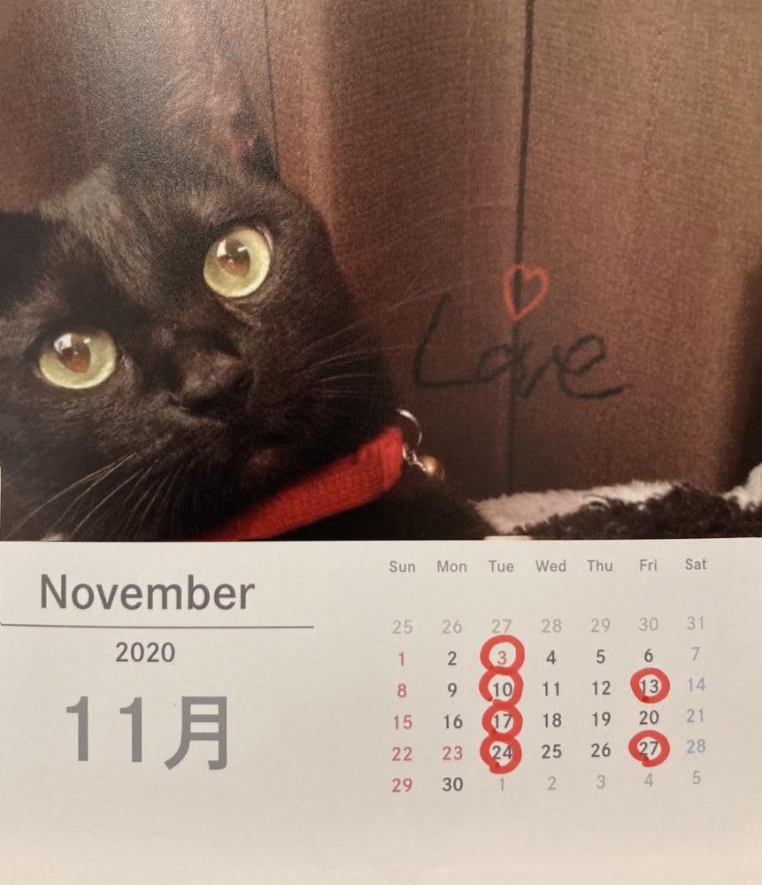 11月のおやすみカレンダー