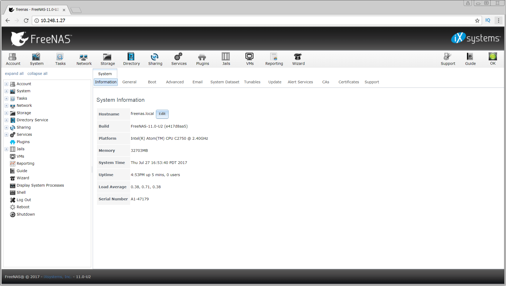 FreeNAS web interface