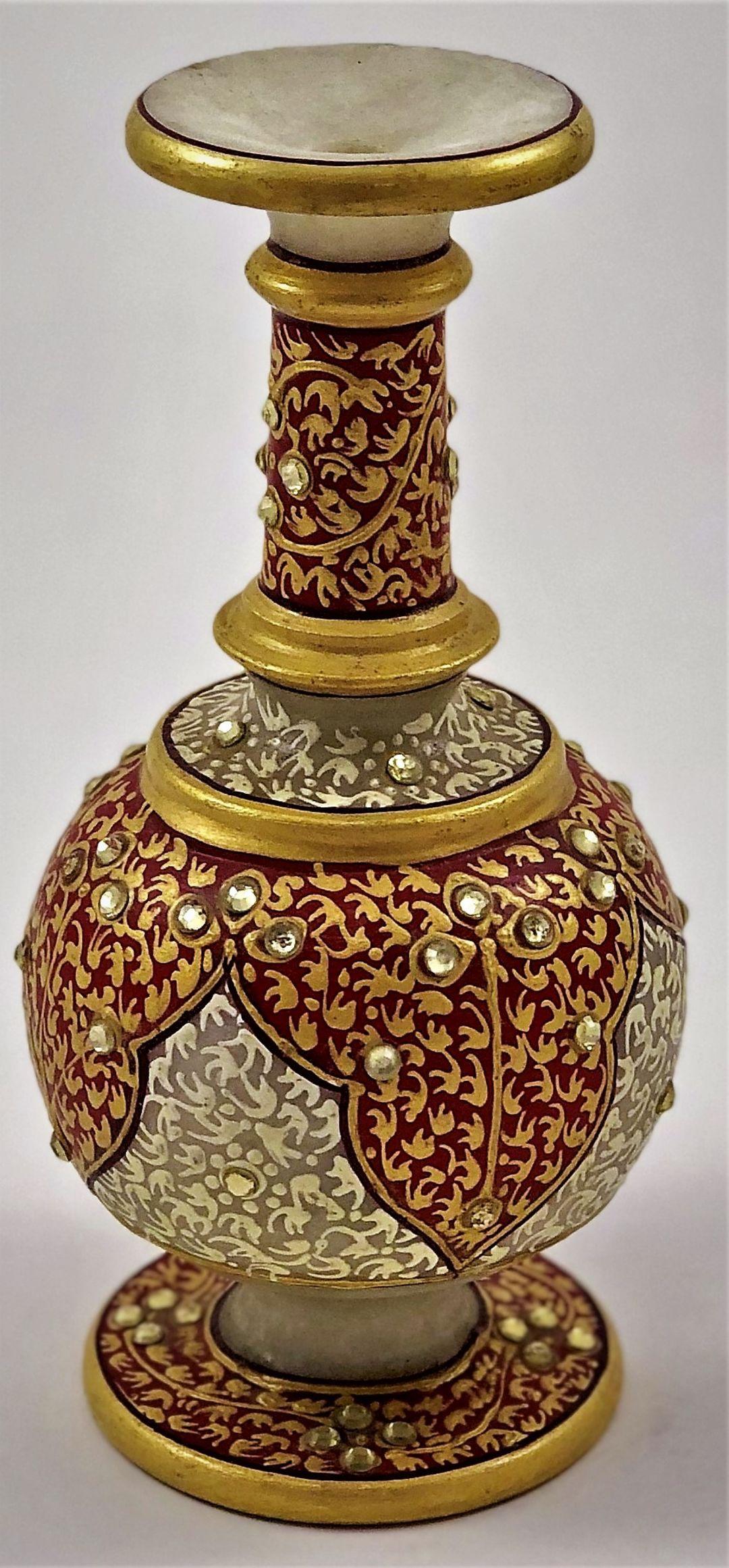 Jeweled rich white marble vase