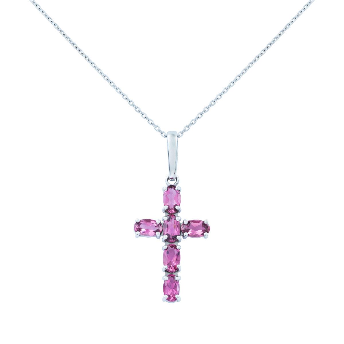 Zlatý náhrdelník křížek srůžovými turmalíny