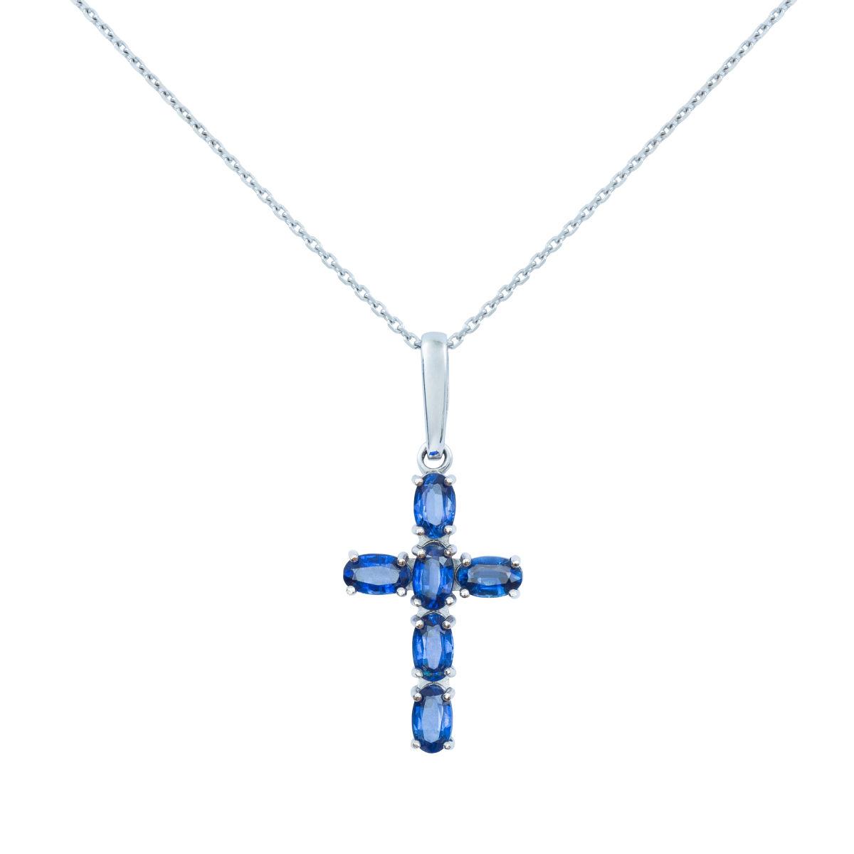 Zlatý náhrdelník křížek skyanity