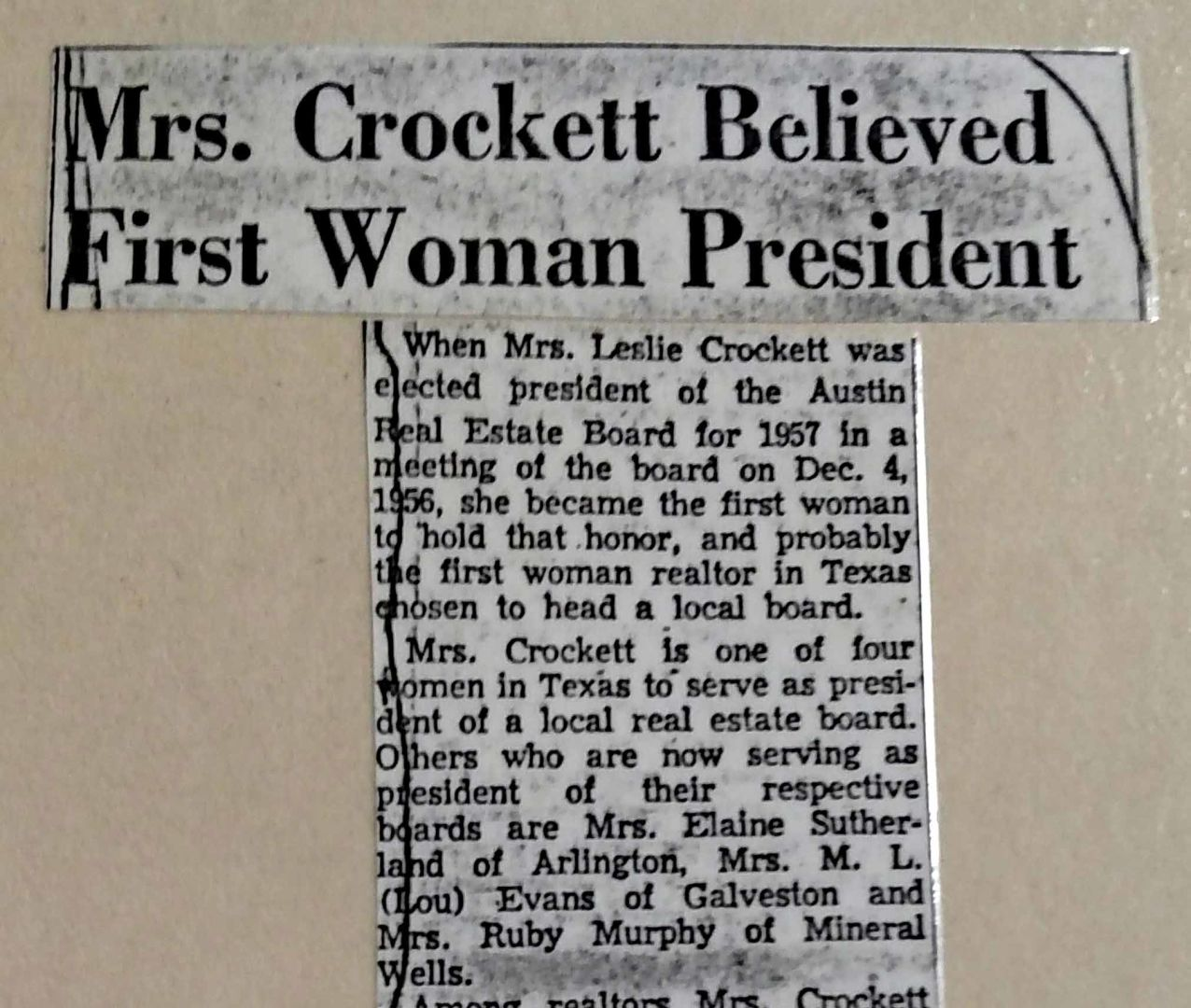 Newspaper Clipping of First Woman President of ABoR, 1957
